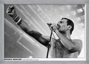 Ingelijste poster Freddie Mercury - Wembley 1984