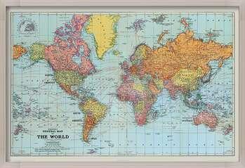 Ingelijste poster Stanfords General Map Of The World - Colour