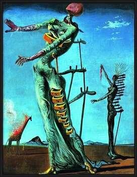 Ingelijste poster Salvador Dali - Girafe En Feu