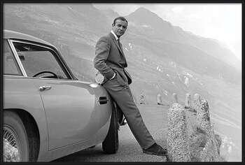 Ingelijste poster James Bond - Connery & Aston Martin