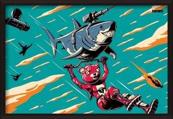 Ingelijste poster Fortnite - Laser Shark