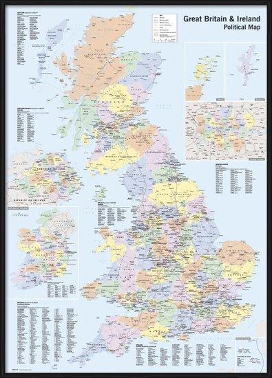 Kaart van Groot Brittannië en Ierland - Politiek Poster